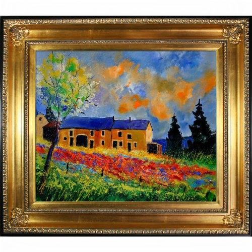 overstockArt Ledent Red Poppies in Houroy Canvas with Regency Gold Frame, Gold by overstockArt