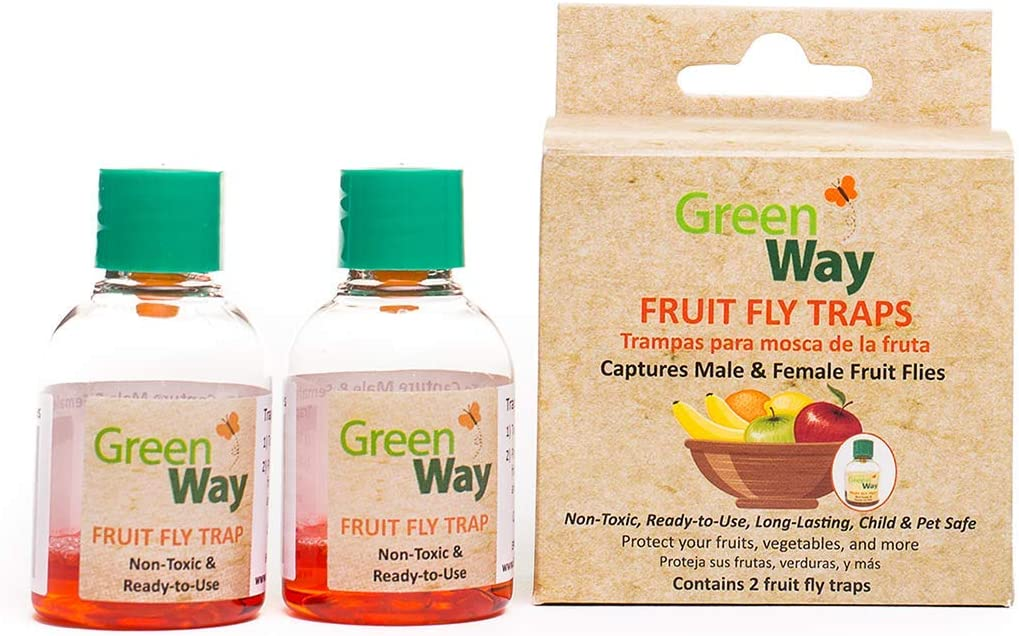 GreenWay Fruit Fly Trap (24 Bottles) | Natural Liquid Attractant, Ready to Use Bottles | Safe, Non-Toxic with No Insecticides or Odor, Eco Friendly, Kid and Pet Safe …