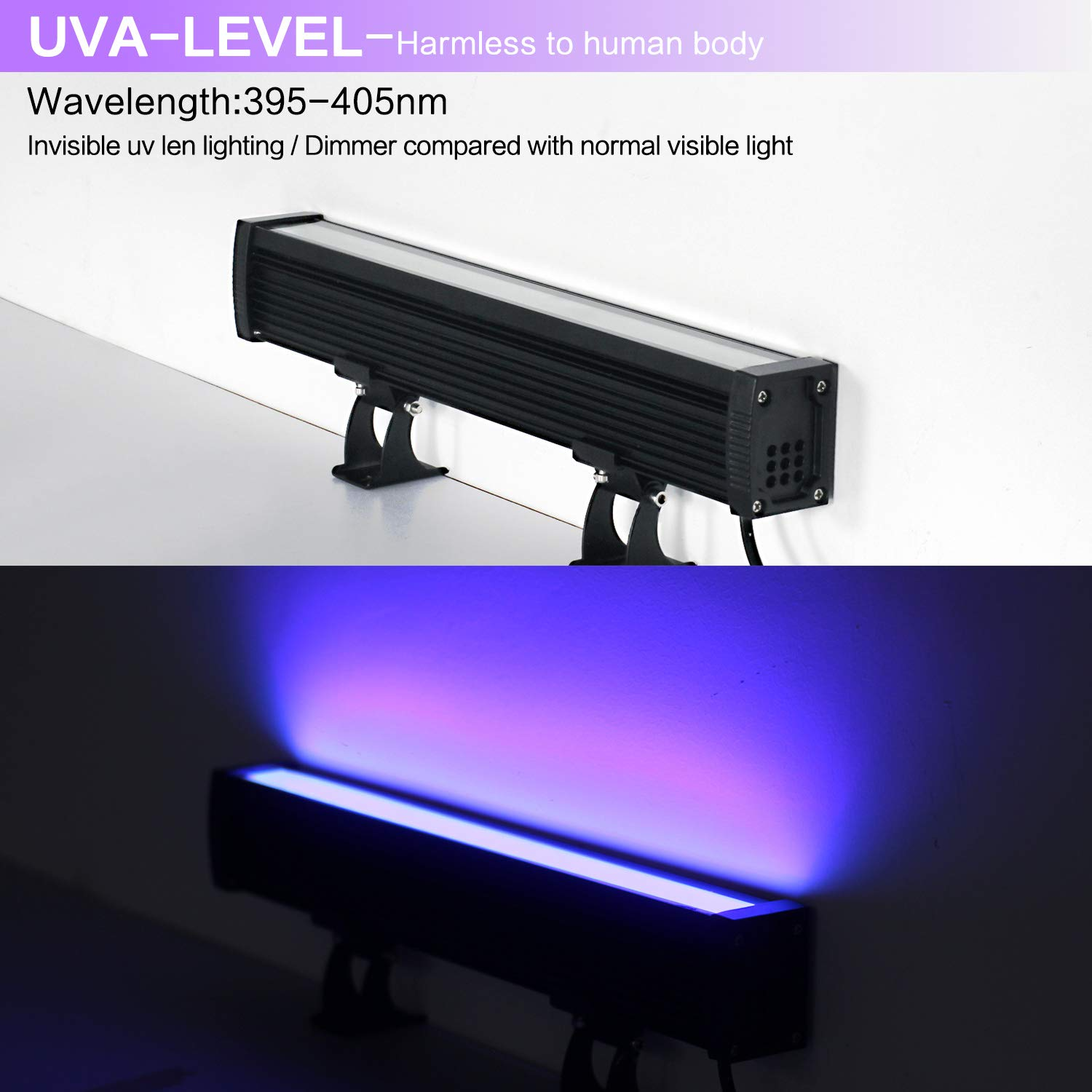 Body Paint Halloween 24W Blacklight Bar with 5Ft US Plug and Switch FAISHILAN 2 Pack UV LED Black Light Glow in The Dark Party Supplies for Stage Lighting Fluorescent Poster