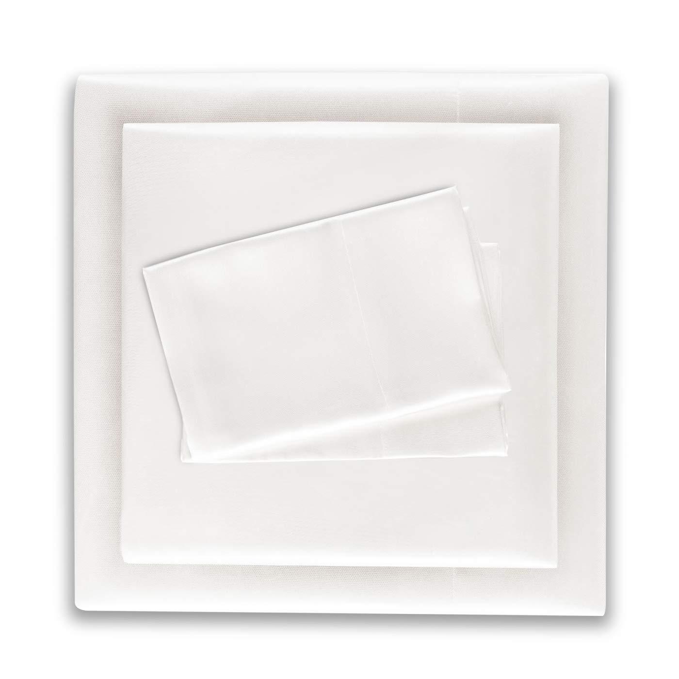 Honeymoon Luxury Satin Bed Sheet Set, Ultra Silky Soft, Queen - White