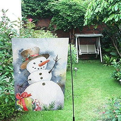 interestprint Navidad invierno muñeco de nieve de doble cara poliéster banderines de jardín 12 X 18 inch, Watercolor muñeco de nieve decorativa bandera de Jardín para Fiestas Decoración De La Casa Al