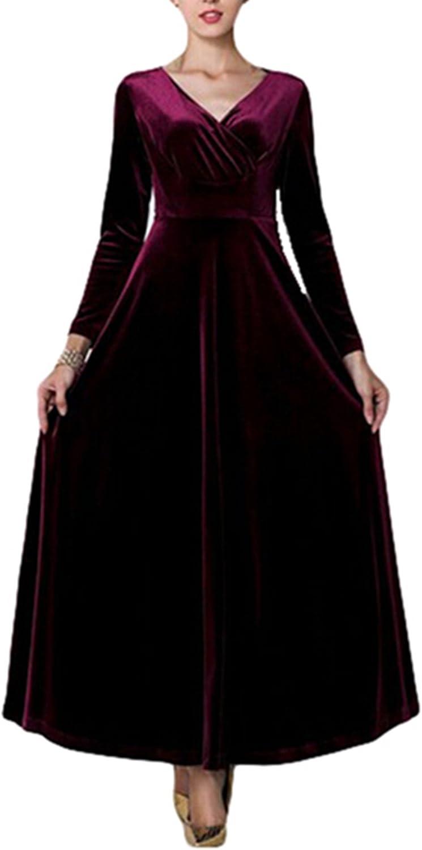 PENER Womens Fashion V-Neck Long-Sleeved Velvet Dress