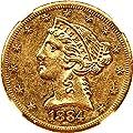 1884 CC $5 Liberty Gold Five Dollar AU58 NGC