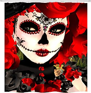 hipaopao Sugar Skull Girl Shower Curtain Red Rose Flower Funny Clown Fabric Shower Curtain Sets Bathroom Decor with Hooks Waterproof Washable 72 x 72 inches Black White Green
