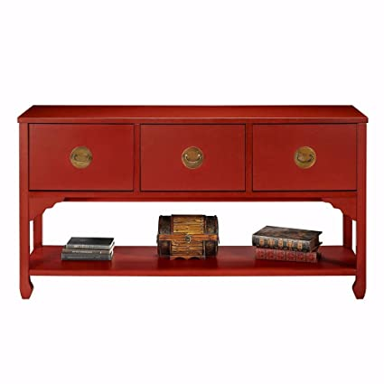 Wuchow Three Drawer File Console  Drawer Consol Antique Red