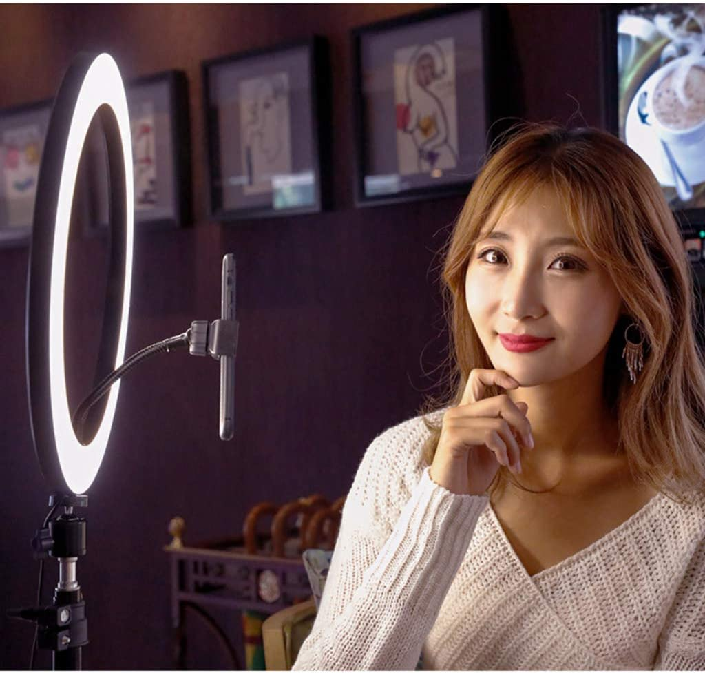 Ring Light 14inch 100W LED Dimmable Ring Light Adjustable Color Temperature 2700K-6500K Stand Phone Holder for Portrait Video Makeup