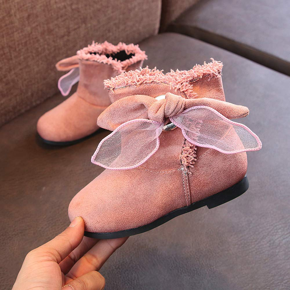 Infant Baby Girls Shoes Warm Fleece Soft Sole Crib Shoes Anti-Slip Prewalker Snow Boots