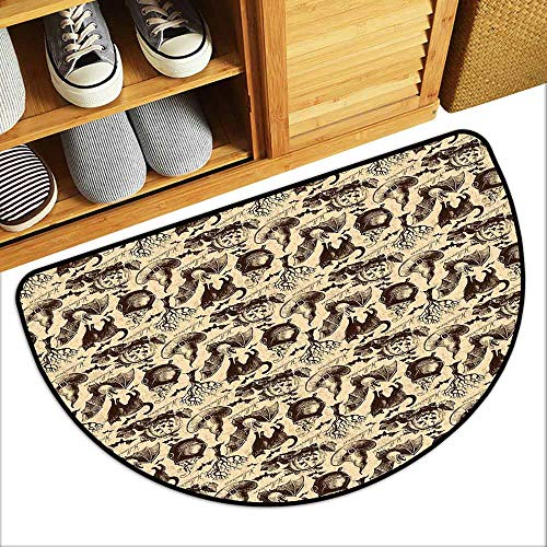 DILITECK Front Door Mat Large Outdoor Indoor Vintage Halloween Symbols of Halloween Witch Hat Cauldron Fall Jack o Lantern Black Cat Super Absorbent mud W24 xL16 Light Brown