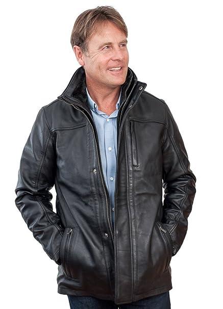 wide range new arrive great fit Men's Mid Length Classic Warm Black Leather Jacket