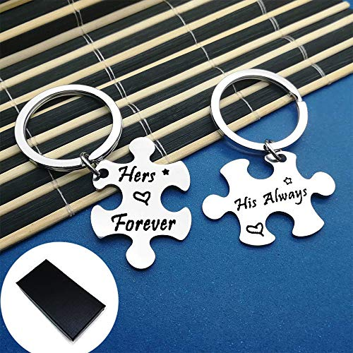 Key Chain Gift, His Always Her Forever Couple, Puzzle Keyrings, Matching Keychain Set for Lovers