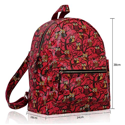 Animal Print Girls Large Owl Design Backpack School Size Pack Rucksack Oilcloth 1 Shoulder Bag Coral Back Boys n8qC1F
