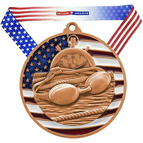 (Decade Awards Swimming Patriotic Medal, Bronze - 2.75 Inch Wide Third Place Medallion with Stars and Stripes American Flag V Neck Ribbon)