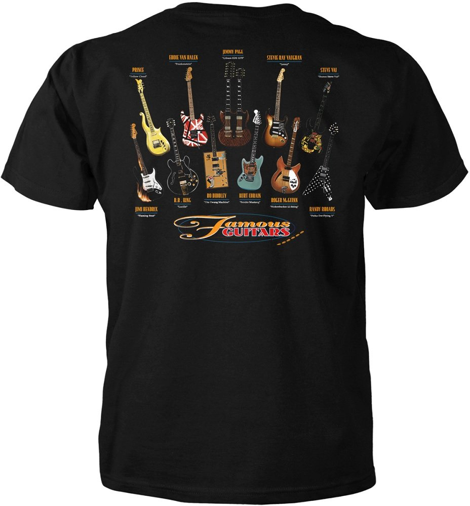 Gift House Music Guitar T-Shirt Famous Guitars (Medium) by Gift House