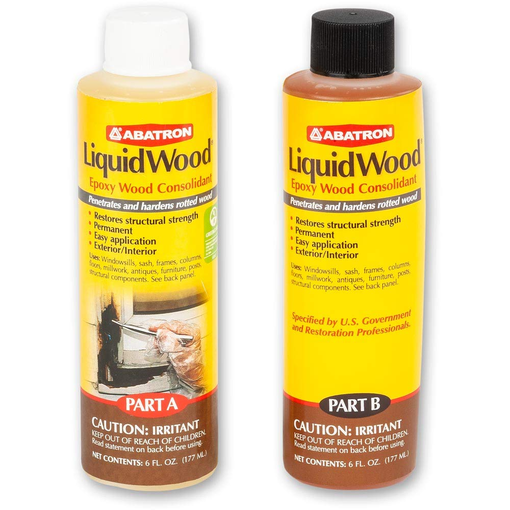 Abatron LiquidWood Kit Epoxy Wood Consolidant 6 Oz Each, Part A & B, Pack of 2 by Abatron
