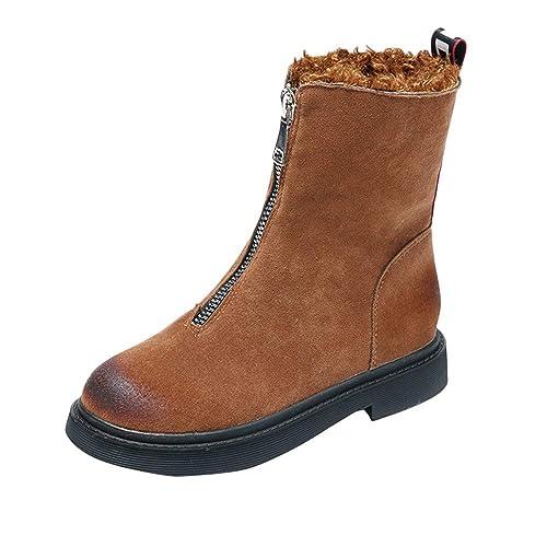 Botines Militares para Mujer Otoño Invierno 2018 Moda PAOLIAN Botas Medias Planos de Terciopelo Botines Planos Zapatos Escolares Señora Calzado Dama Botas ...