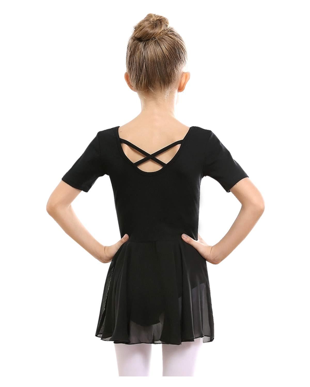 Stelle Girls Ballet Short Sleeve Dress Leotard For Dance Gymnastics And Ballettoddlerlittle Girlbig Girl120cm Black