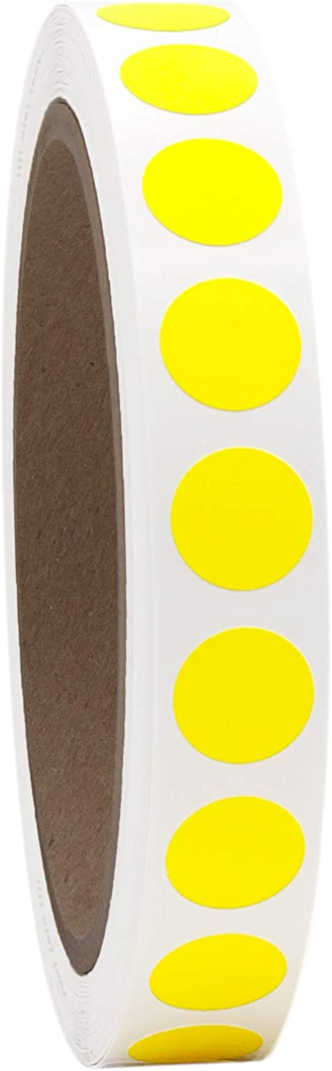 "1/2"" Neon Yellow Round Color Coding Circle Dot Labels on a Roll, Semi-Gloss, 1000 Stickers.5 inch Diameter."