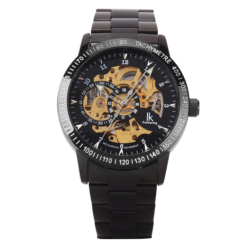 UNIQUEBELLA Automatikuhr Automatik Armbanduhr Skelett mechanische Uhr Edelstahl