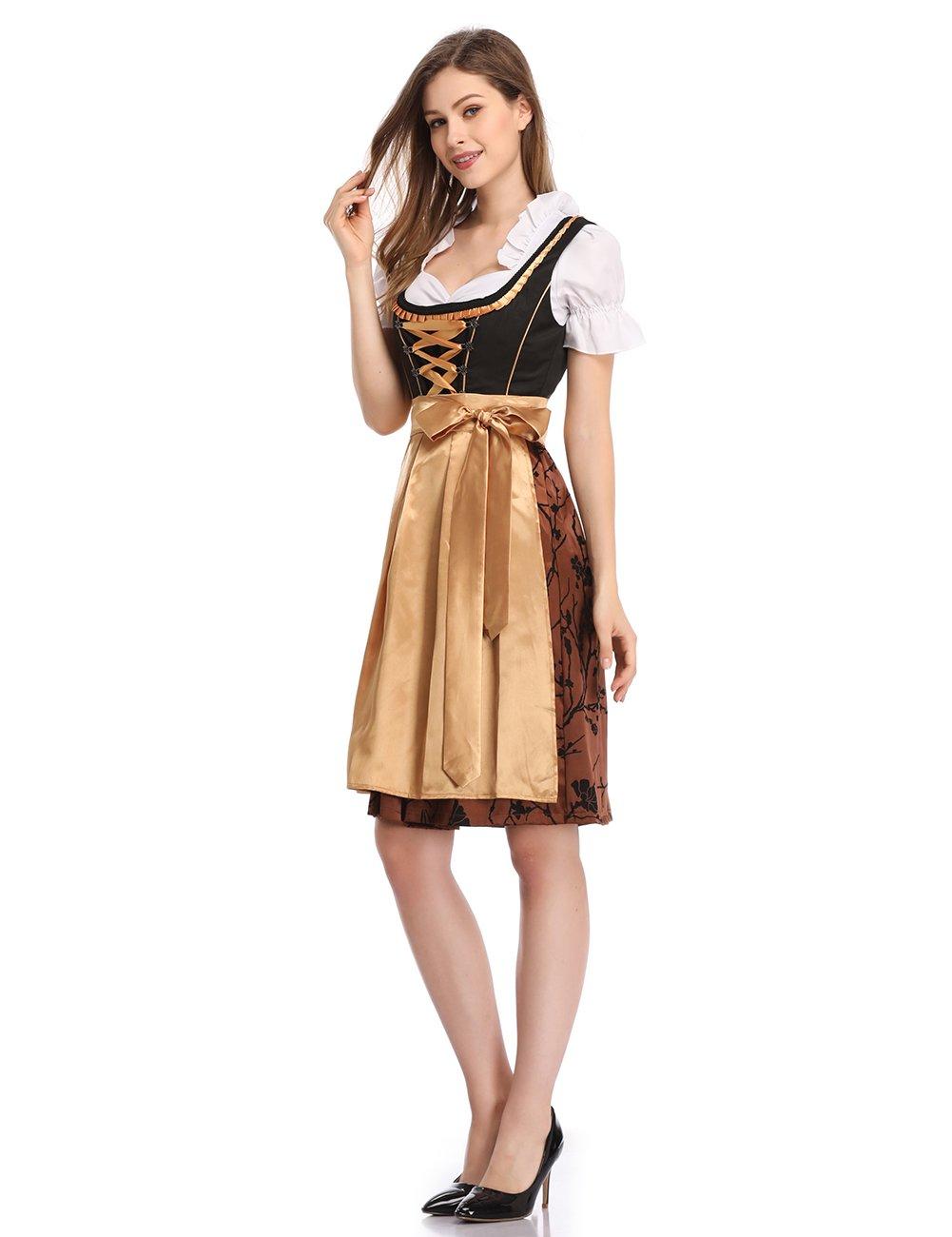 Clearlove Dirndl Dresses Women Brown M