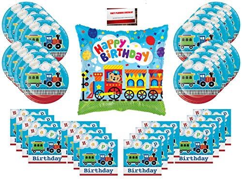 All Aboard Choo Choo Trains Party Supplies Bundle Pack for 16 (Bonus 18 Inch Balloon Plus Party Planning Checklist by Mikes Super Store) ()