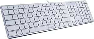 ELSRA USB Wired Full Size Mac Compatible Keyboard with Numeric Keypad KB-801 (Silver/White) w/Silicone Cover Skin