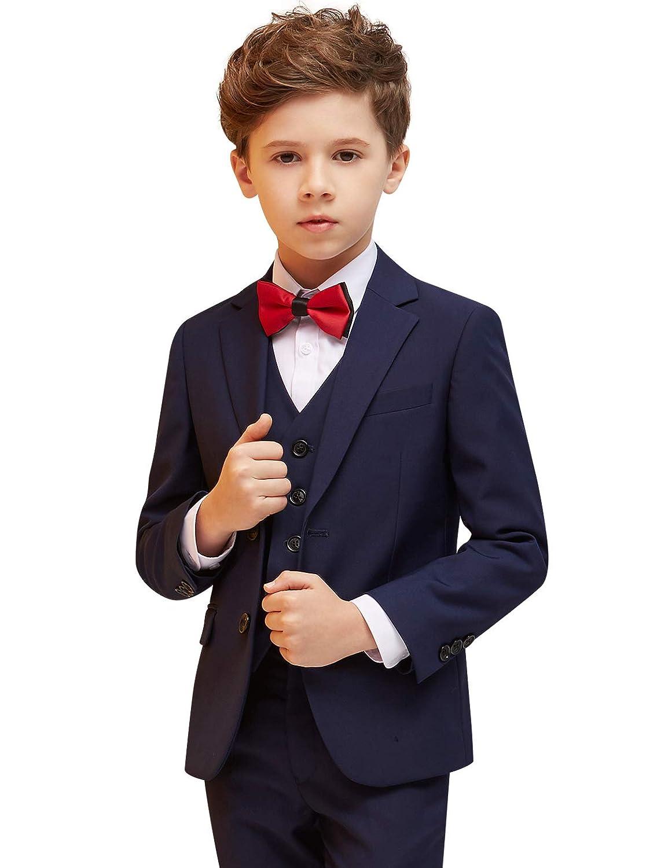 Tute da Ragazzo Vestito Formale per Bambini 6 Pezzi di Colore Solido Giovanile per Giacca Occidentale da Sposa Tuxedo NXB0083