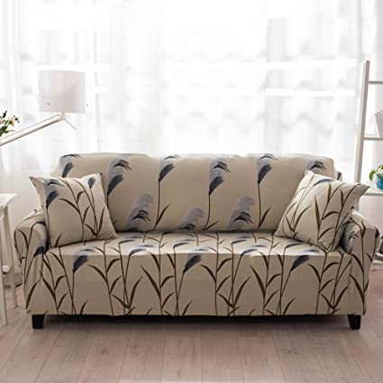 HYSENM 1/2/3/4 Seater Sofa Cover Home Décor Stretch Elastic Sofa Slipcover  Couch Cover, Reed 3 seater 190-230cm