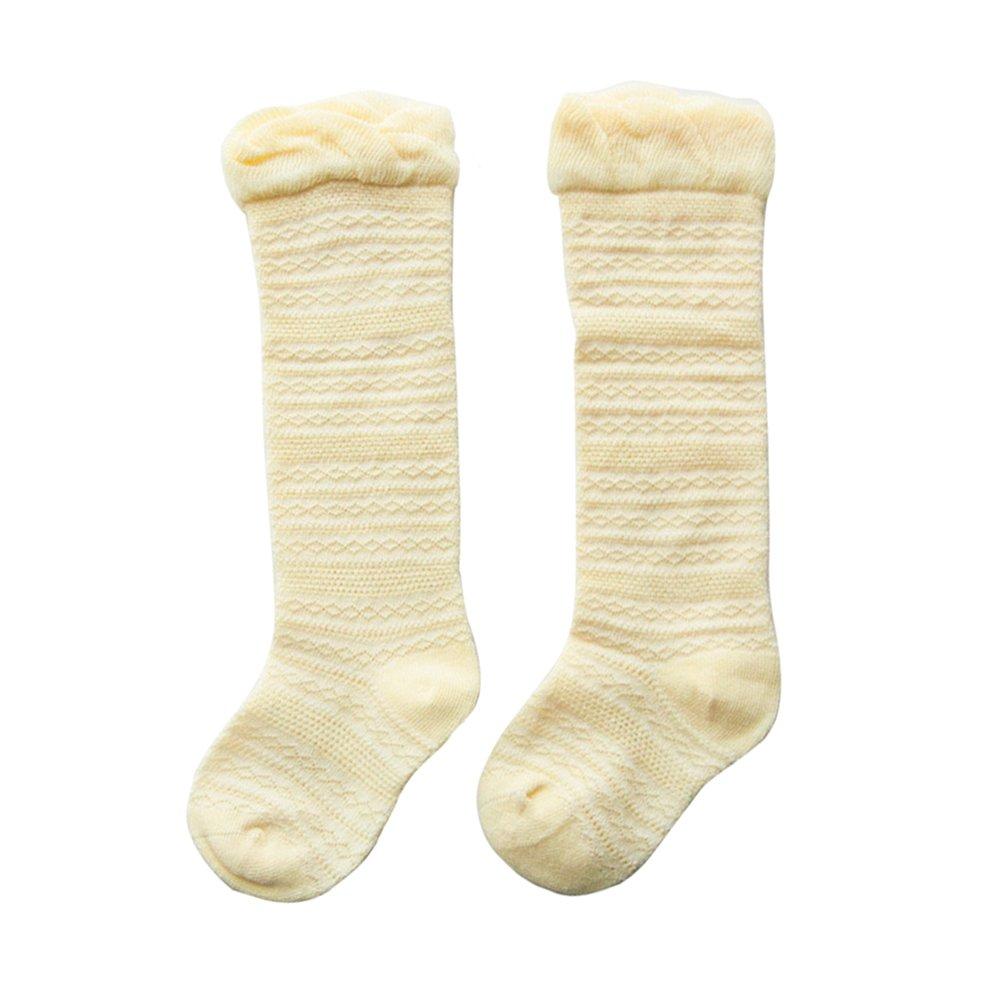 Share Maison 5-Pack Unisex Baby Knit Knee High Cotton Socks Uniform Ruffle Stockings