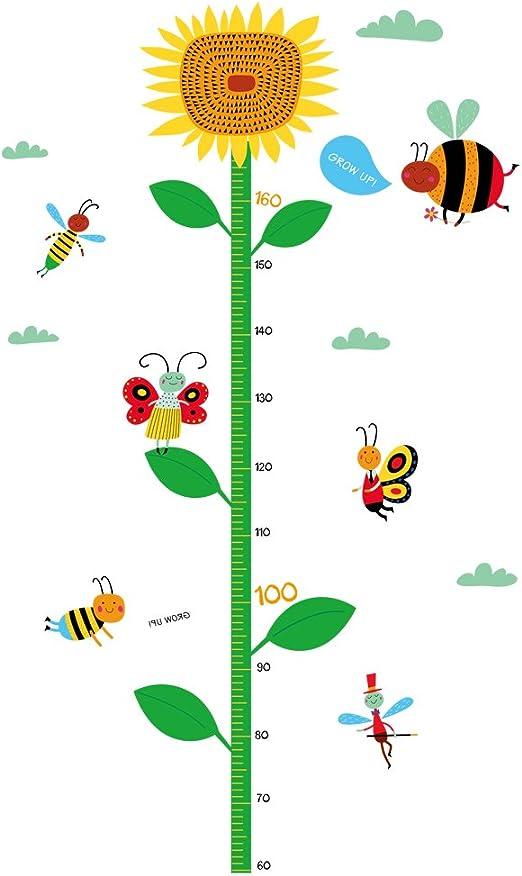 Amazon Com Winhappyhome Sunflower Children S Height Growth Measurement Chart Wall Art Stickers For Kids Room Nursery Kindergarten Background Removable Decor Decals Home Kitchen