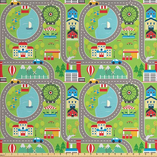 Ambesonne Car Race Track Fabric by The Yard, Cartoon for sale  Delivered anywhere in USA