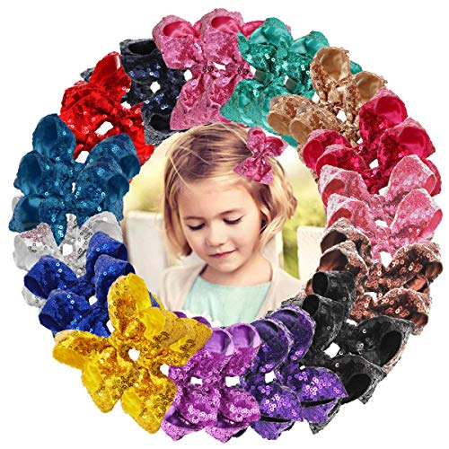 - DED 30pcs Sparkly Hair Bows Clips 4 inch Glitter Sequin Bow Alligator Clips Baby Hair Accessories for Baby Girls Children Kids(15 Pair)