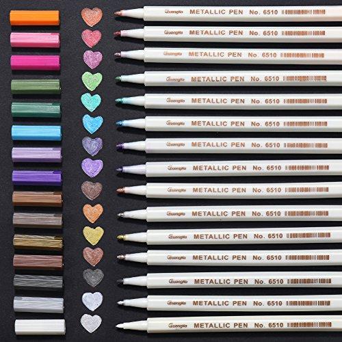 Metallic Marker Paint Pens - Set of 15 Colors - Permanent Fine Point Tip Metal Art Glitter Markers for Gift Card Making,DIY Photo Album, Scrapbooking, Black Paper, Artist Illustration, Mug Design
