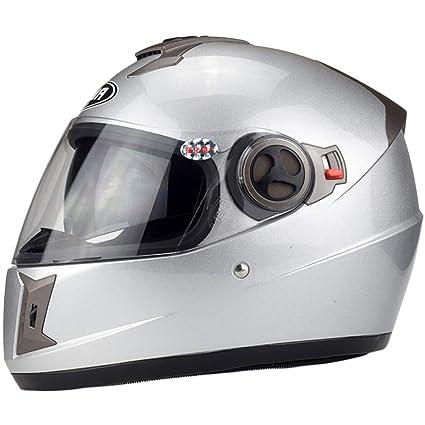 WEGCJU Casco De Moto Protector Facial Completo Doble Visera Todoterreno,Grey-Lessthan61cm
