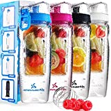 Crossactiv 3in1 Fruit Infuser Bottle with Carry Bag and Ball, 32 oz. - Glacier White