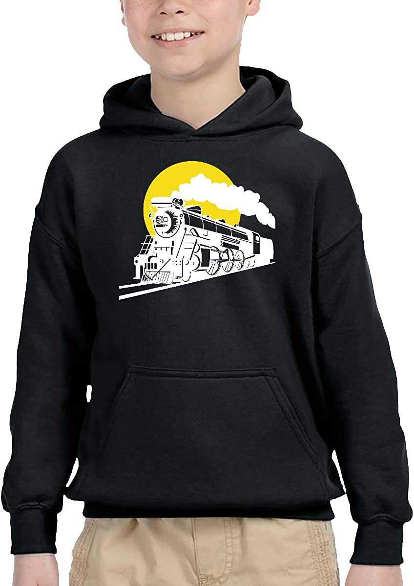 Toddler Kids Baby Pullover Hoodie Fleece Sunset Steam Train and Railway Outerwear