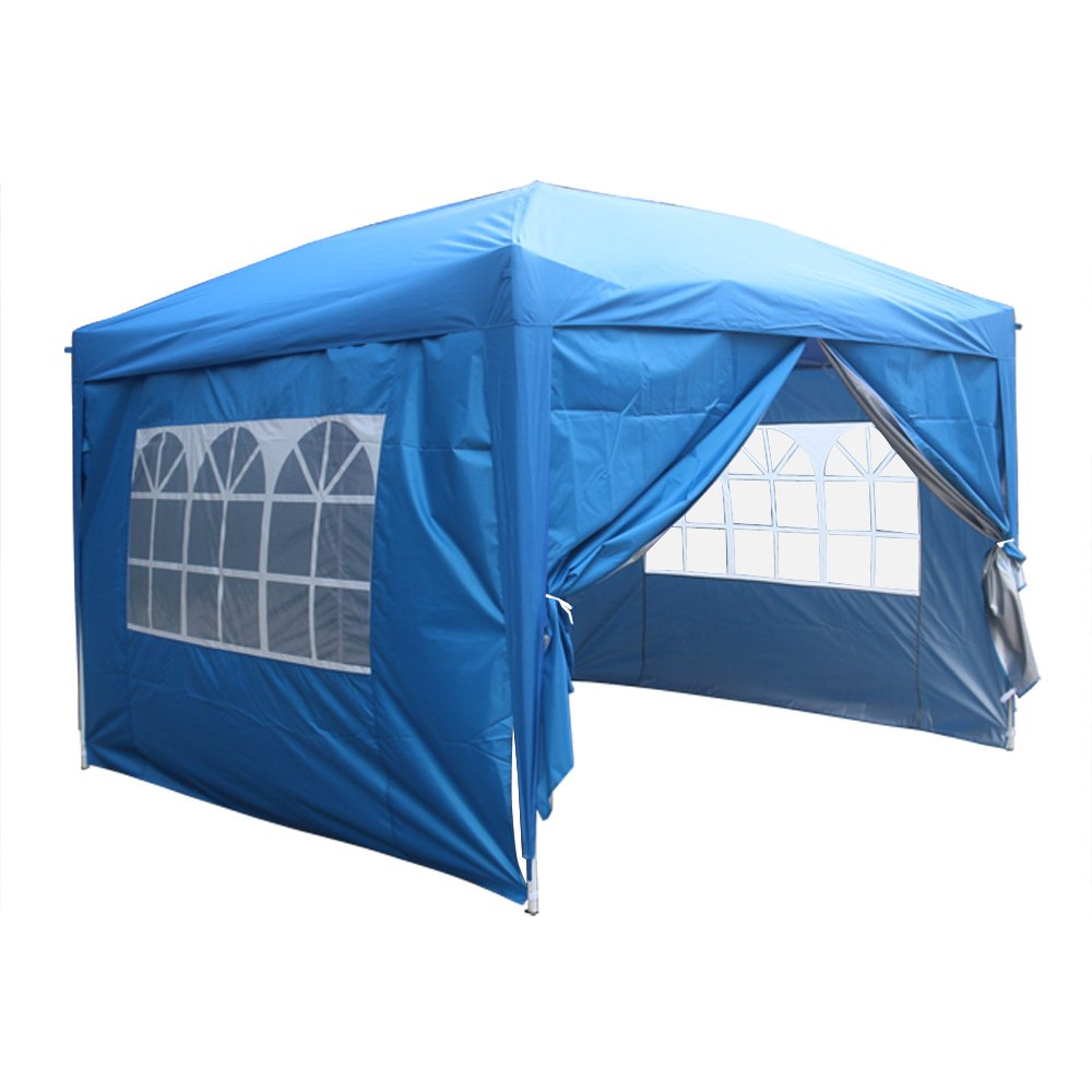 Greenbay Blue Heavy Duty Pop-up Gazebo Marquee Canopy with 4 Side Panels and Carrybag - 2m x 2m Manufactured for Greenbay