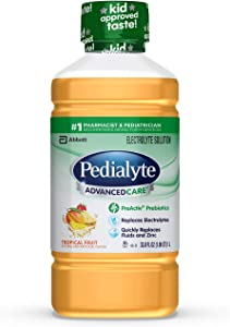 Pedialyte AdvancedCare Electrolyte Solution,1 Liter, with PreActiv Prebiotics, Hydration Drink, Tropical Fruit