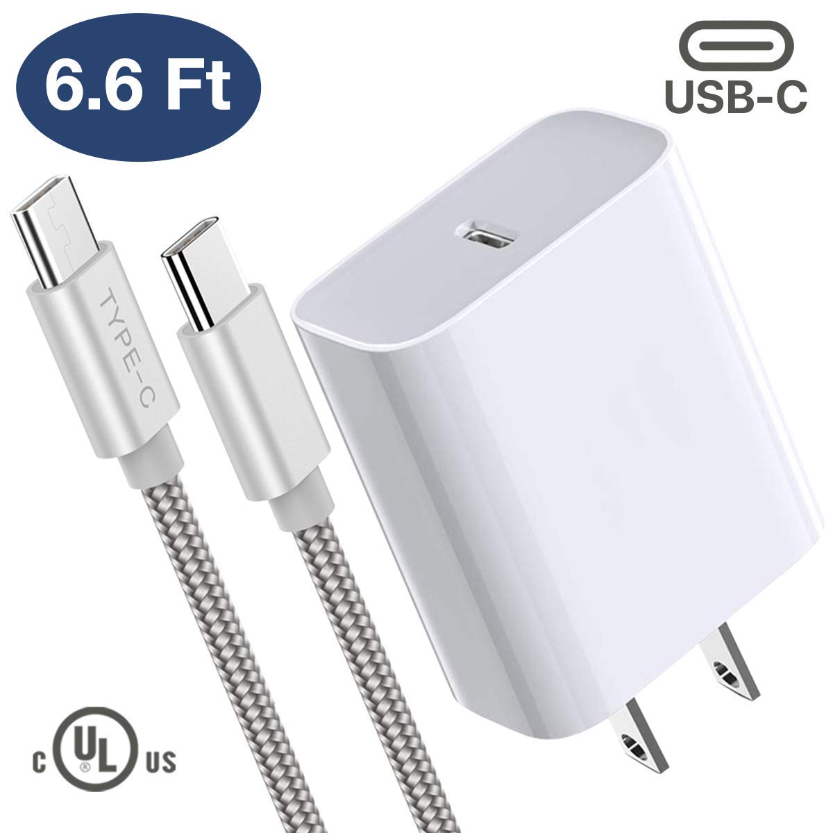 USB-C Fast Power Adapter Boxgear -for Latest iPad Pro (3rd Generation 11-inch and 12.9-Inch) 18W PD Quick Wall Charger with 6.6 Feet Braided USB-C Cable for Google Pixel 3, Note 10, Galaxy S10, White by Boxgear
