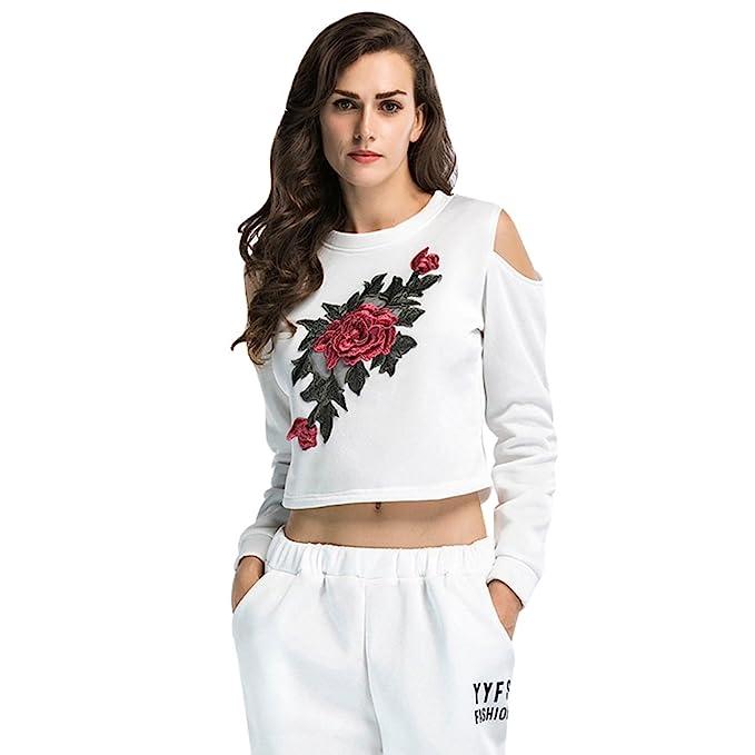 NiSeng Mujeres Sin Tirantes Sudadera Crop Tops Moda Impresión De Bordado Manga Larga Blusas Pullover Blanco