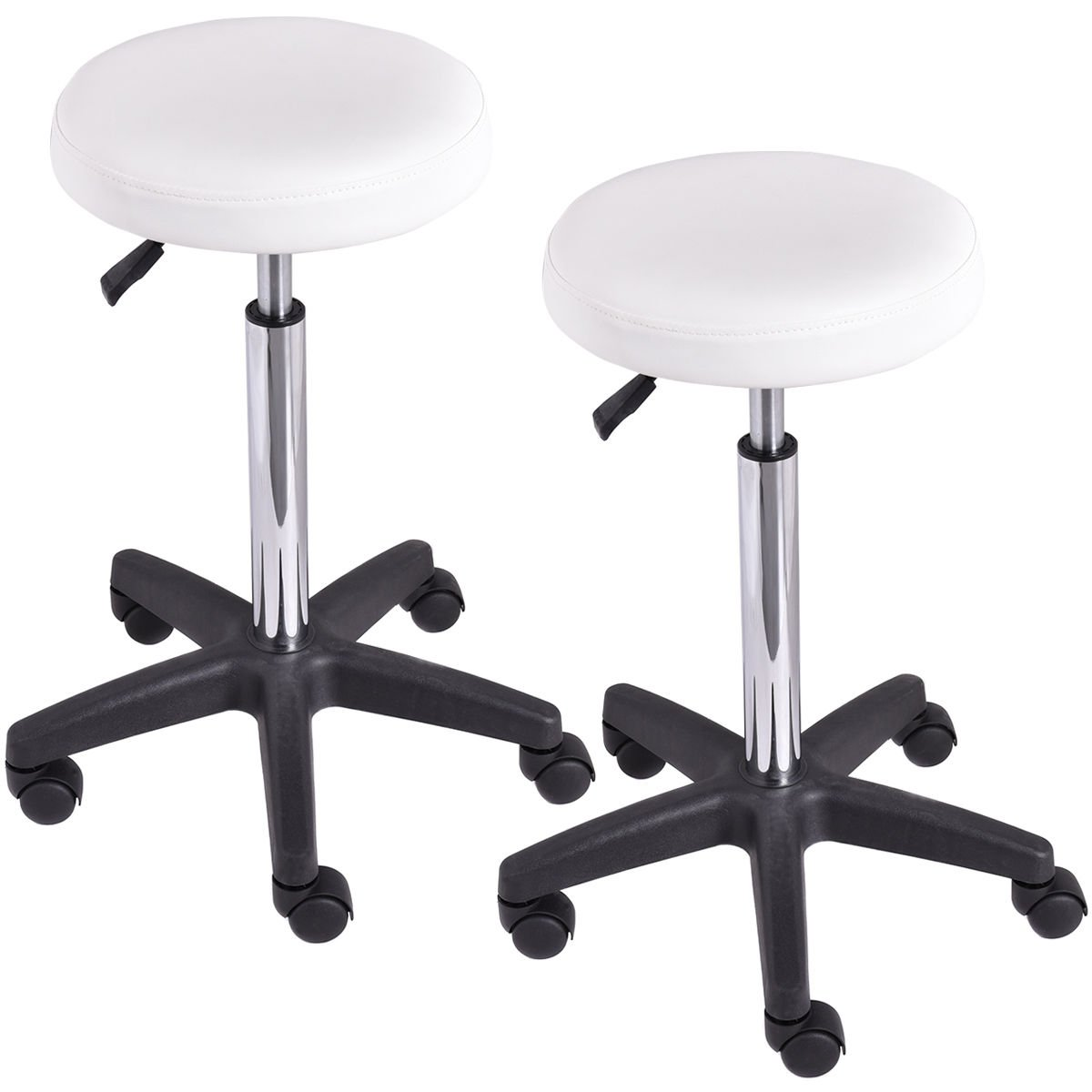 Set of 2 Adjustable Hydraulic Rolling Swivel Bar Stool | Hairdressing Beautician Barber Dentist Tattoo Maker Massage Spa Beauty Salon PU Leather Cushion Seat Stools
