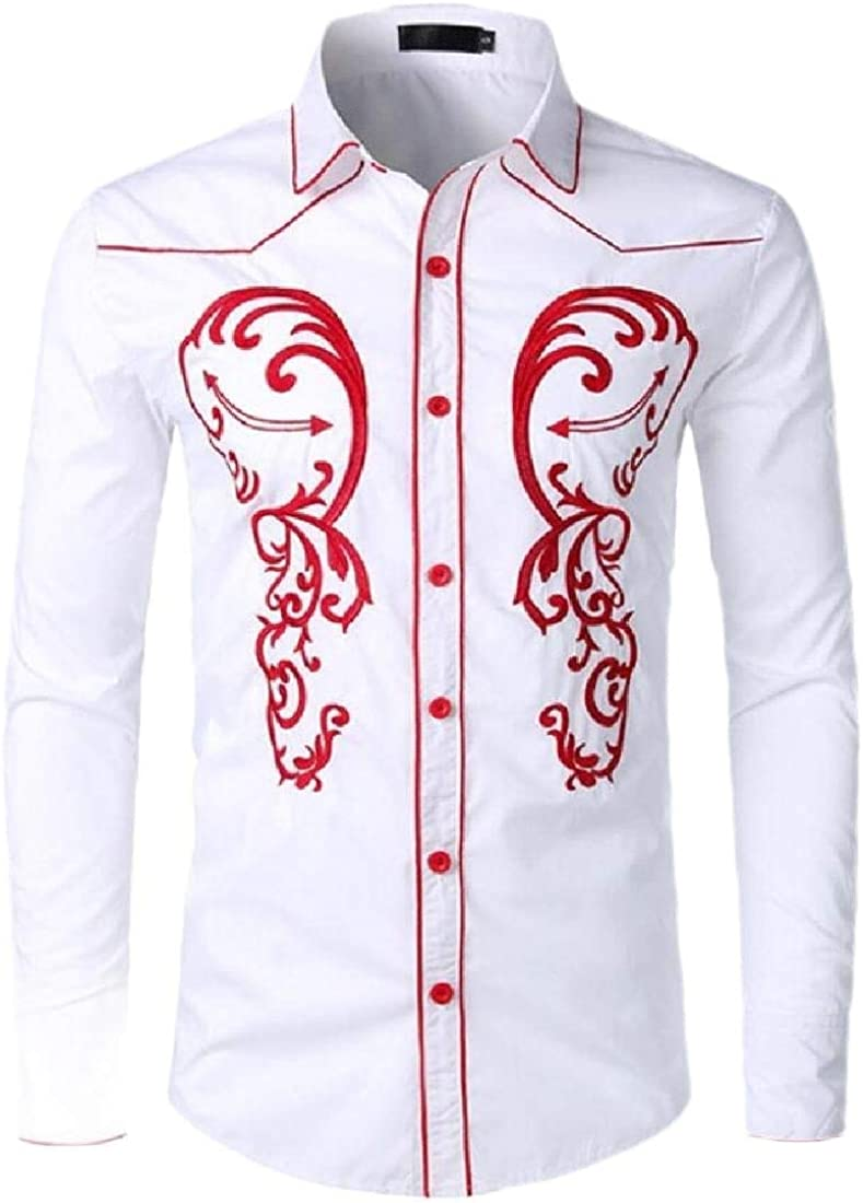 Beloved Mens Loose Tops Long Sleeve Embroidered Shirt Slim Fit Casual Button Down Shirts