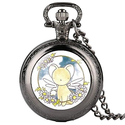 JLySHOP - Reloj de Bolsillo para niña, diseño de Personajes de Dibujos Animados, Cuarzo, Reloj de Bolsillo para Estudiantes, Reloj de Bolsillo Digital ...