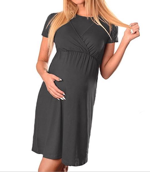 Fräulein Fox Verano Multifunción Mujer Embarazada Vestido de Playa Mujeres Casual Cuello Redondo Manga Corta Vestidos de Partido Moda Colores Lisos Corto ...