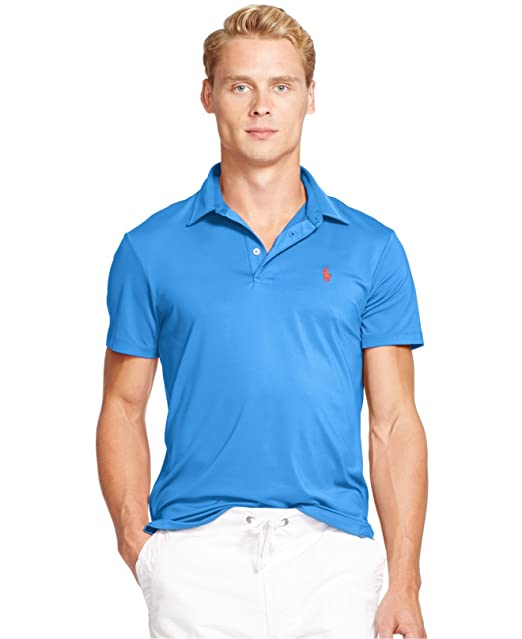 e25a6cc3cd Polo Ralph Lauren Performance Lisle Polo Shirt (Medium, New Iris ...
