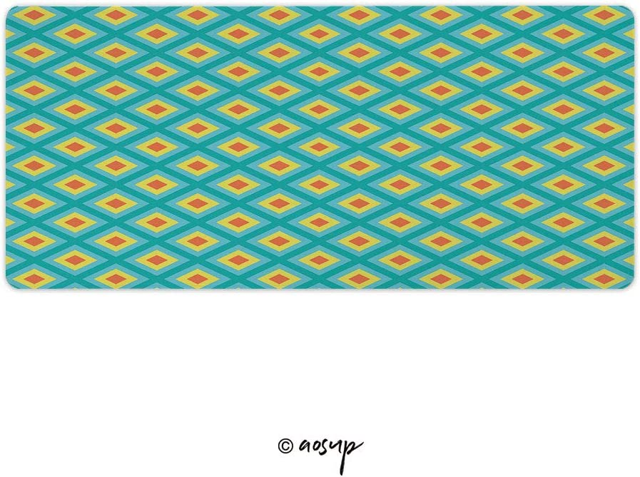Yellow and Blue Abstract Pattern Gaming Mouse Anti-Slip Rubber Mousepad for Laptop 23.6 x 11.8 inch NO-70802 Homenon Large Gaming Mouse Pad Locking Edge Mouse Mat Bright Red