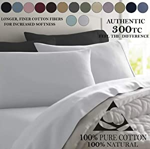 Deluxe Tradition Crisp, Breathable and Lavishly Soft 100% Long Staple Cotton Adjustabel Bed Sheets Split King; Rich White 300 Thread Count Sateen Weave