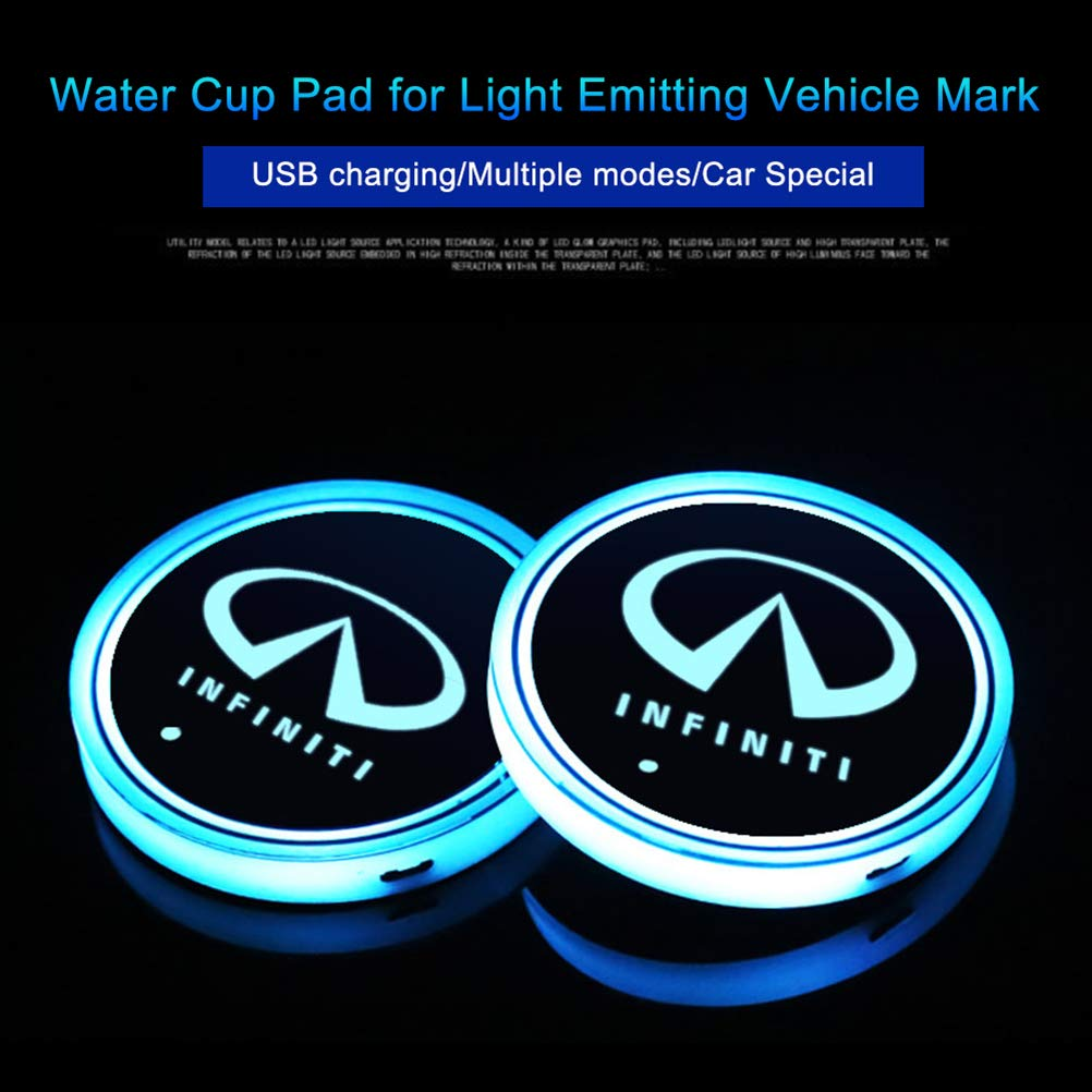 Mercedes Lispeed 2pcs LED Car Logo Cup Holder Pads 7 Colors Changing USB Charging Mats Bottle Coasters Car Atmosphere Lamps