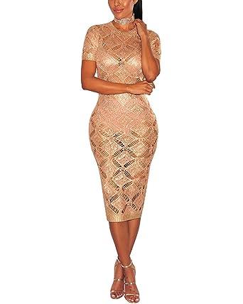 Gikim Womens Sexy Elegant Knit Dress Mesh Bodycon Party Midi Dress Rose Gold L