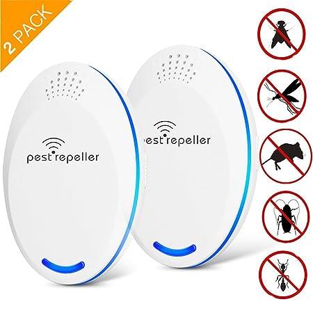 2 Pack Ultraschall Schädlingsbekämpfer,Maus Ultraschall-Elektronischer Ultraschall Insekten - Beseitigen Mäuse,Bettwanzen,Spi