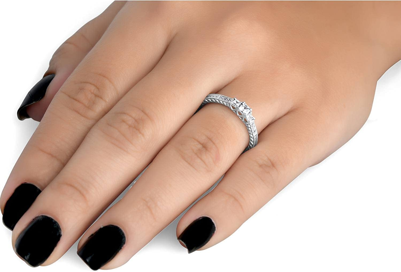1//4ct Vintage Three Stone Princess Cut Diamond Engagement Ring 14K White Gold